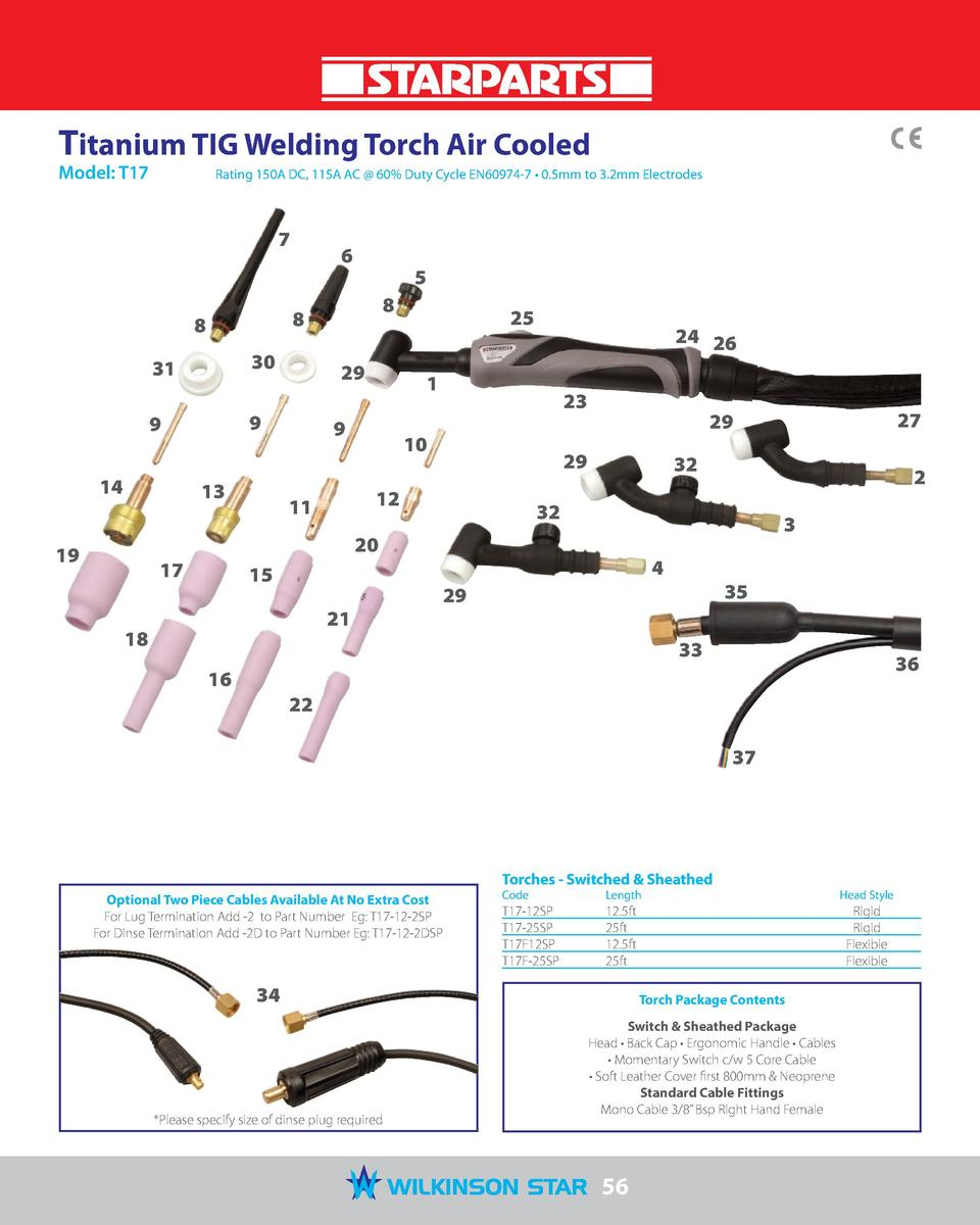 Titanium TIG Welding Torch Air Cooled Model  T17   Rating 150A DC, 115A AC   60  Duty Cycle EN60974-7     0.5mm to 3.2mm E...