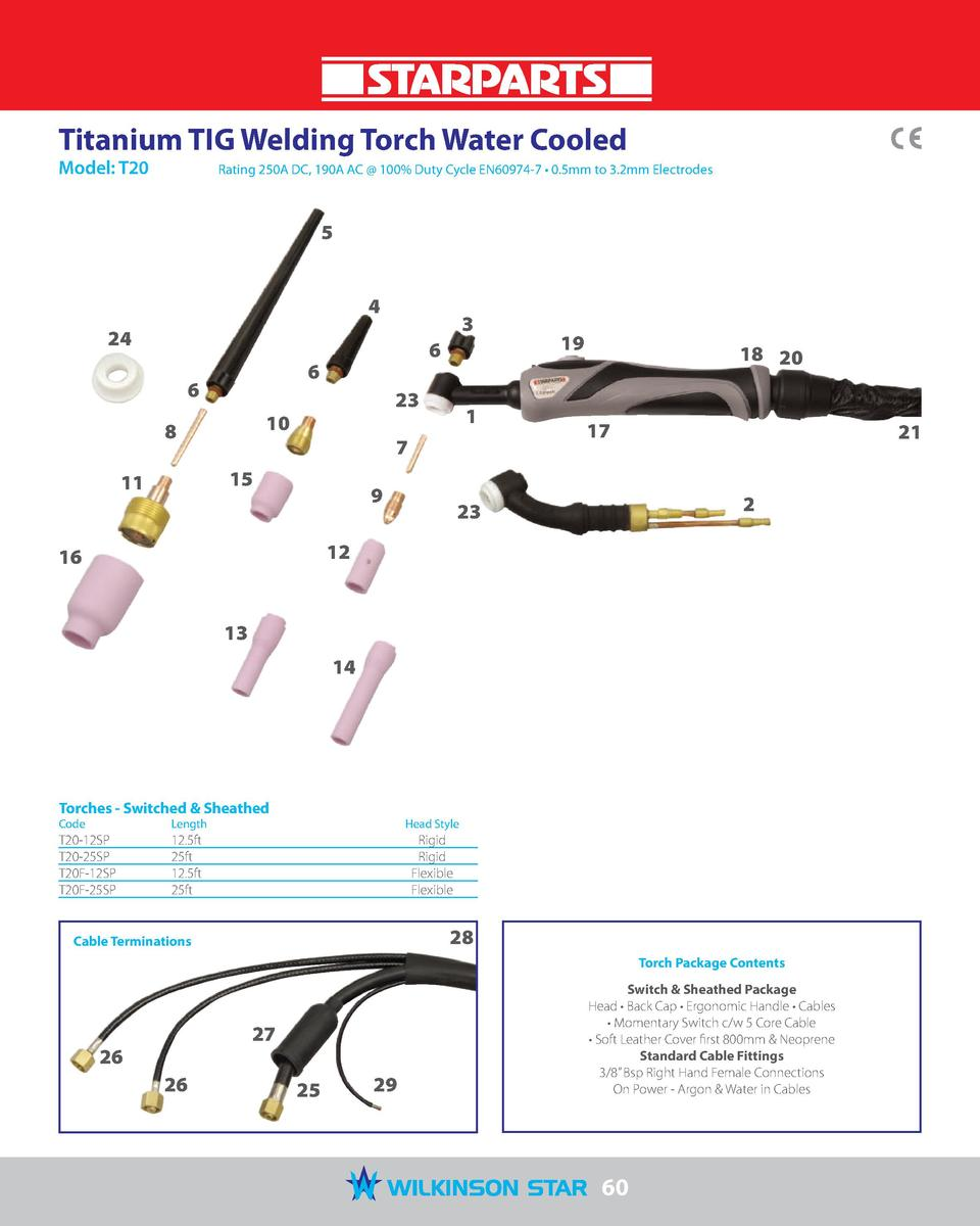 Titanium TIG Welding Torch Water Cooled Model  T20   Rating 250A DC, 190A AC   100  Duty Cycle EN60974-7     0.5mm to 3.2m...