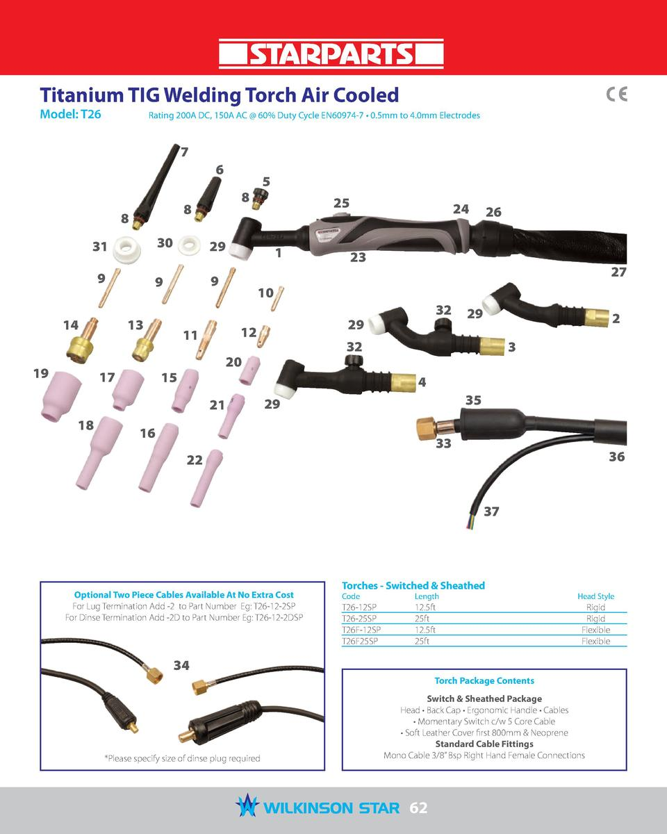 Titanium TIG Welding Torch Air Cooled Model  T26   Rating 200A DC, 150A AC   60  Duty Cycle EN60974-7     0.5mm to 4.0mm E...
