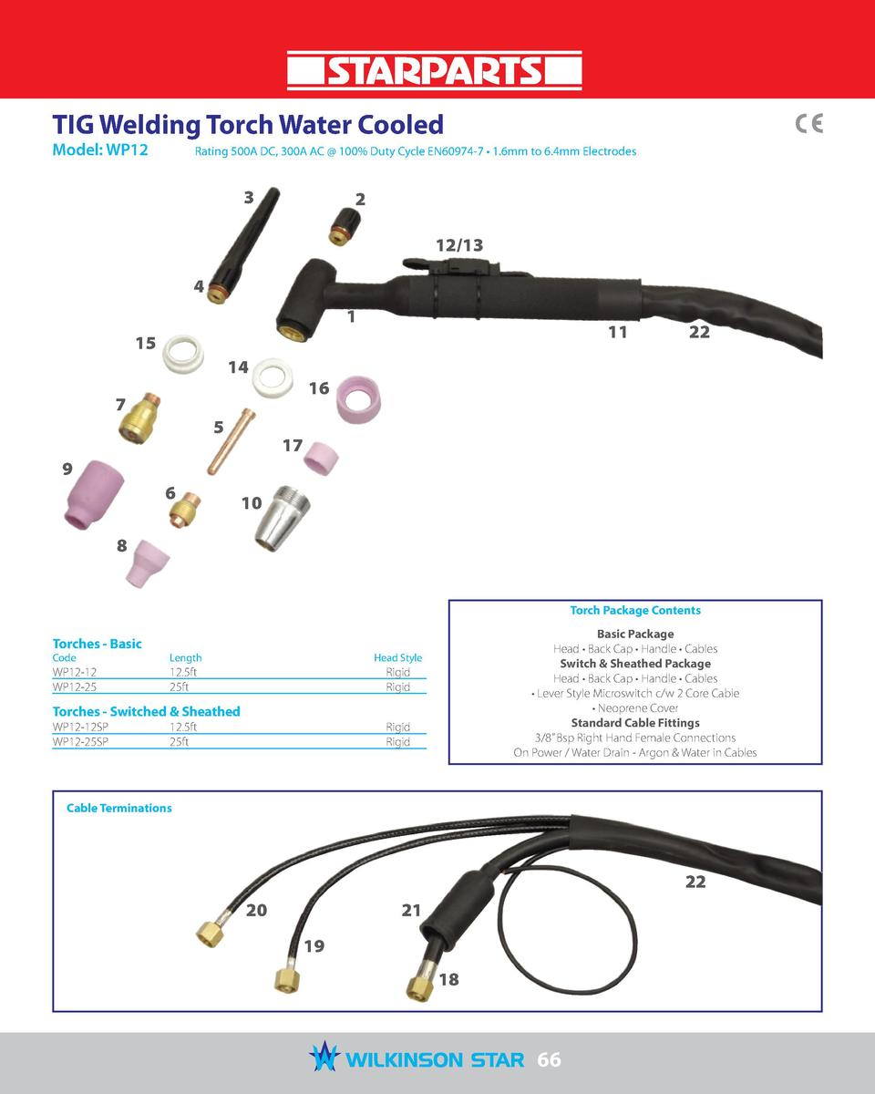 TIG Welding Torch Water Cooled Model  WP12   Rating 500A DC, 300A AC   100  Duty Cycle EN60974-7     1.6mm to 6.4mm Electr...