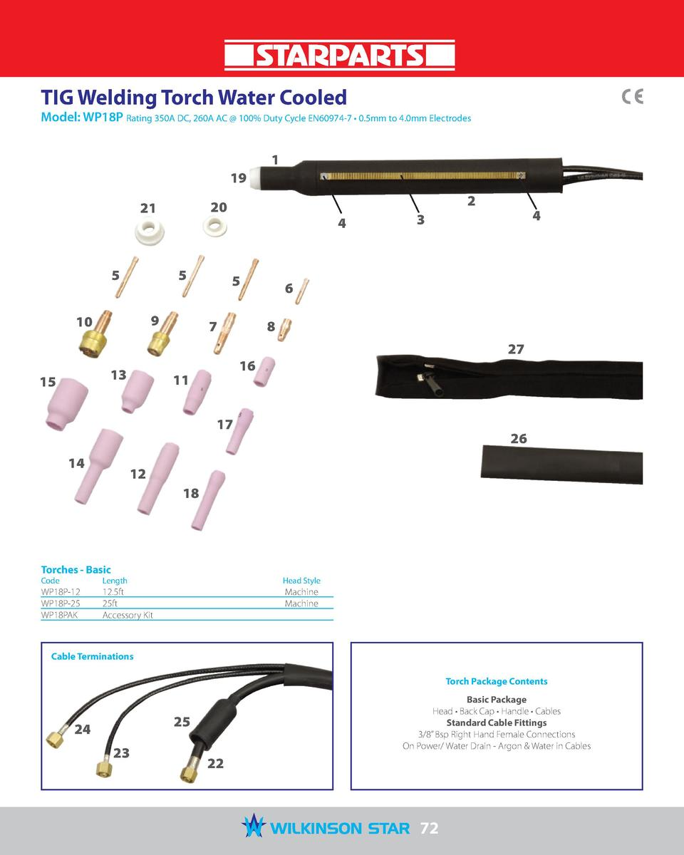 TIG Welding Torch Water Cooled  Model  WP18P Rating 350A DC, 260A AC   100  Duty Cycle EN60974-7     0.5mm to 4.0mm Electr...