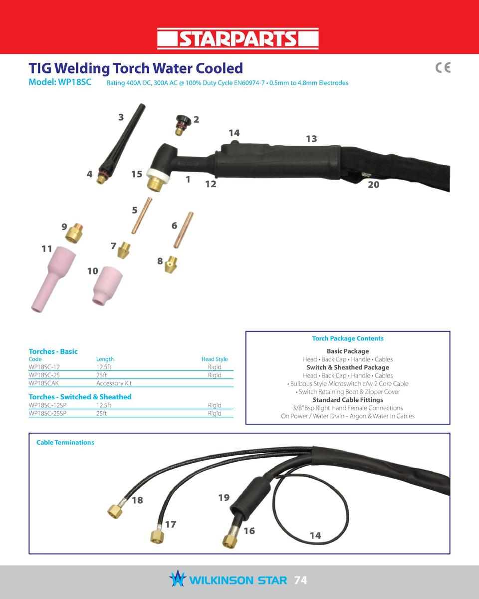 TIG Welding Torch Water Cooled Model  WP18SC   Rating 400A DC, 300A AC   100  Duty Cycle EN60974-7     0.5mm to 4.8mm Elec...