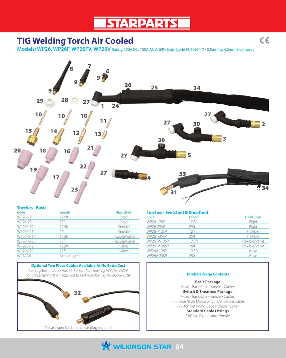 Starparts Torches Consumables Tig Welding Line Diagram Torch Air Cooled Models Wp26 Wp26f Wp26fv Wp26v Rating 200a Dc