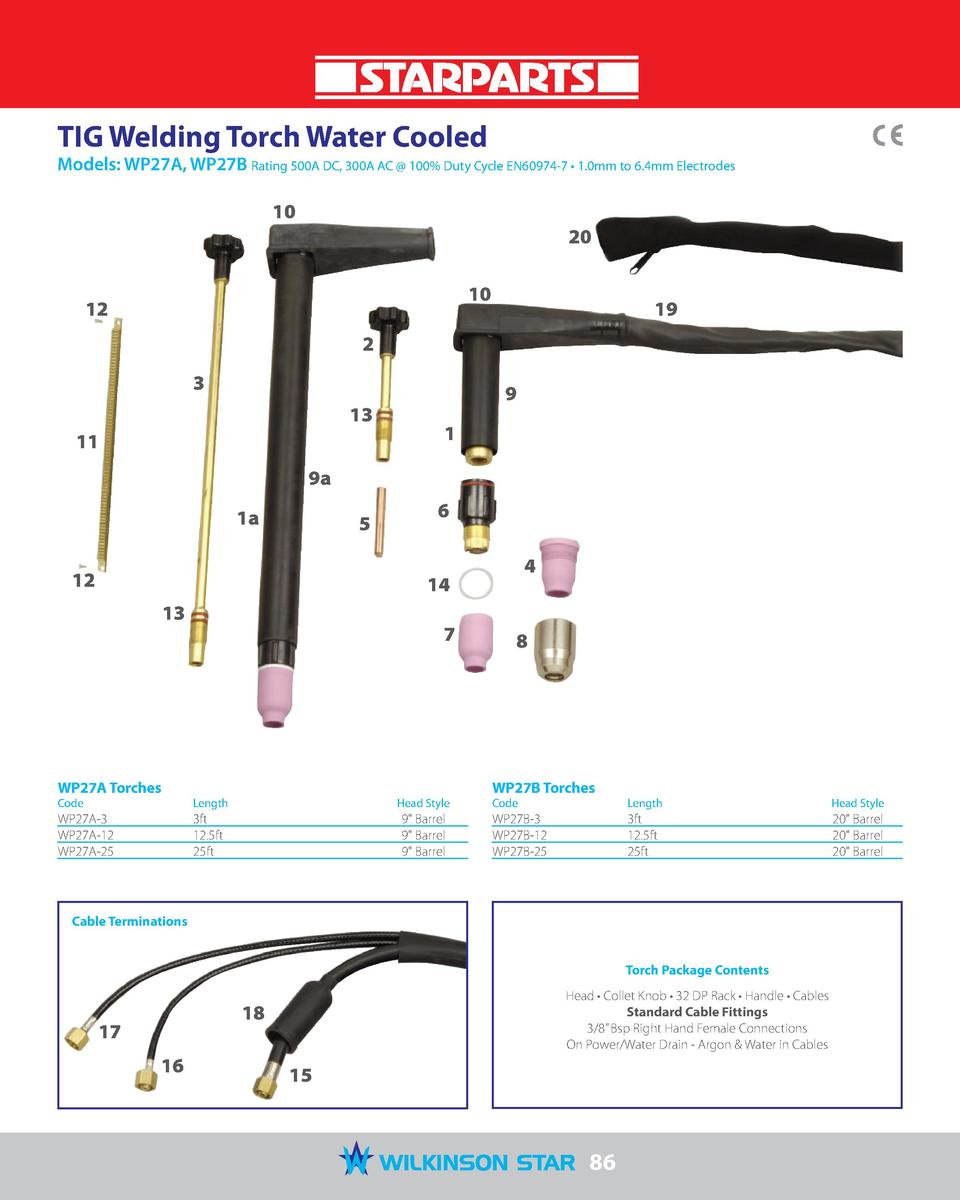 TIG Welding Torch Water Cooled  Models  WP27A, WP27B Rating 500A DC, 300A AC   100  Duty Cycle EN60974-7     1.0mm to 6.4m...