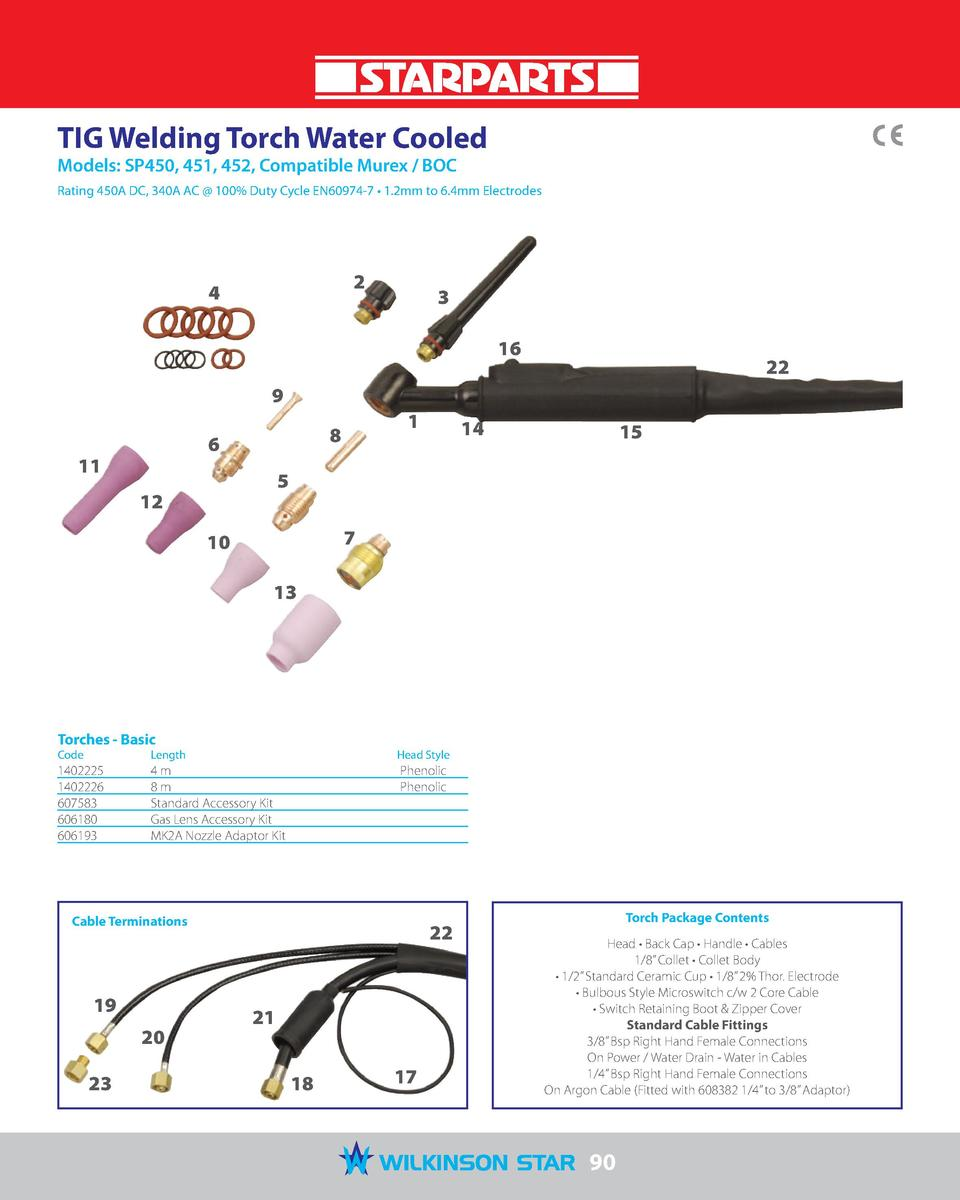 TIG Welding Torch Water Cooled Models  SP450, 451, 452, Compatible Murex   BOC  Rating 450A DC, 340A AC   100  Duty Cycle ...