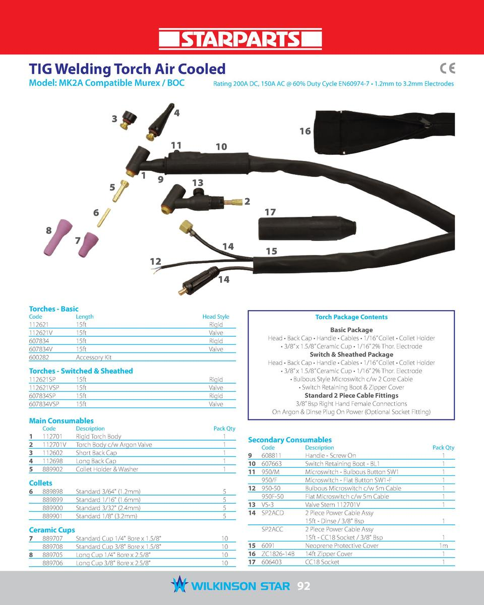 TIG Welding Torch Air Cooled Model  MK2A Compatible Murex   BOC   Rating 200A DC, 150A AC   60  Duty Cycle EN60974-7     1...