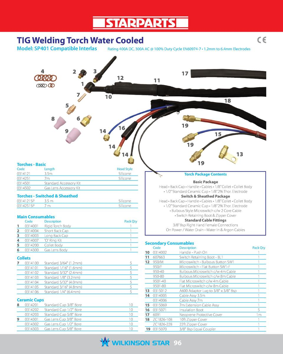 TIG Welding Torch Water Cooled Model  SP401 Compatible Interlas   4  Rating 400A DC, 300A AC   100  Duty Cycle EN60974-7  ...