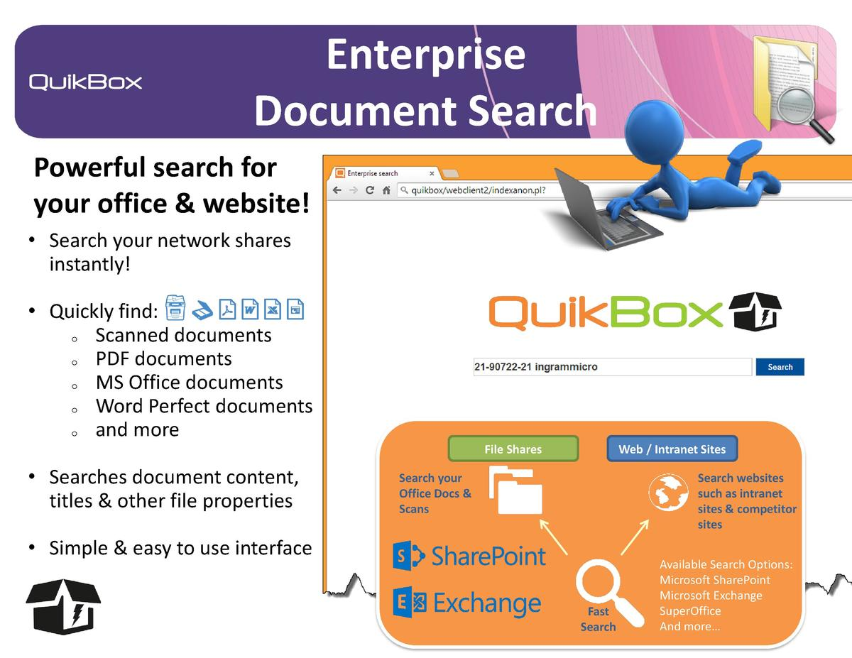 Enterprise Document Search Powerful search for your office   website      Search your network shares instantly       Quick...