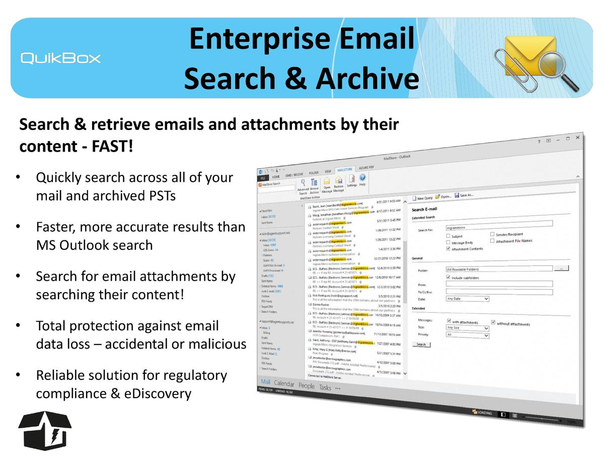 Enterprise Email Search   Archive Search   retrieve emails and attachments by their content - FAST      Quickly search acr...