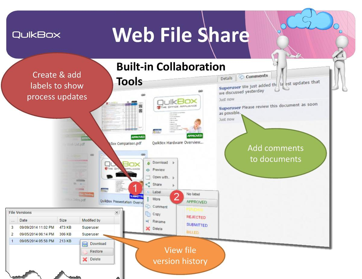Web File Share Create   add labels to show process updates  Built-in Collaboration Tools  Add comments to documents  View ...