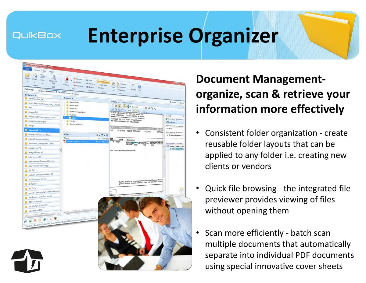 Enterprise Organizer Document Managementorganize, scan   retrieve your information more effectively     Consistent folder ...
