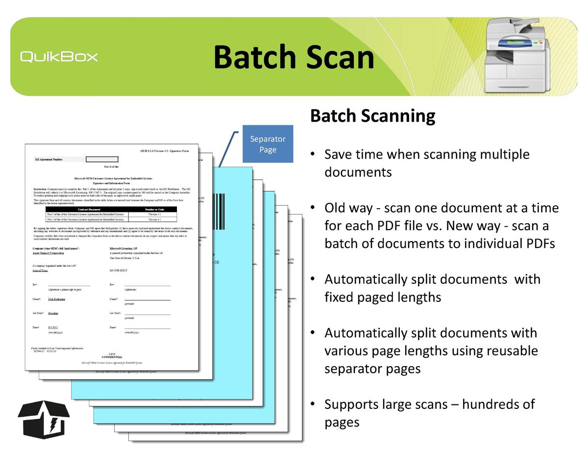 Batch Scan Batch Scanning Separator Page      Save time when scanning multiple documents     Old way - scan one document a...