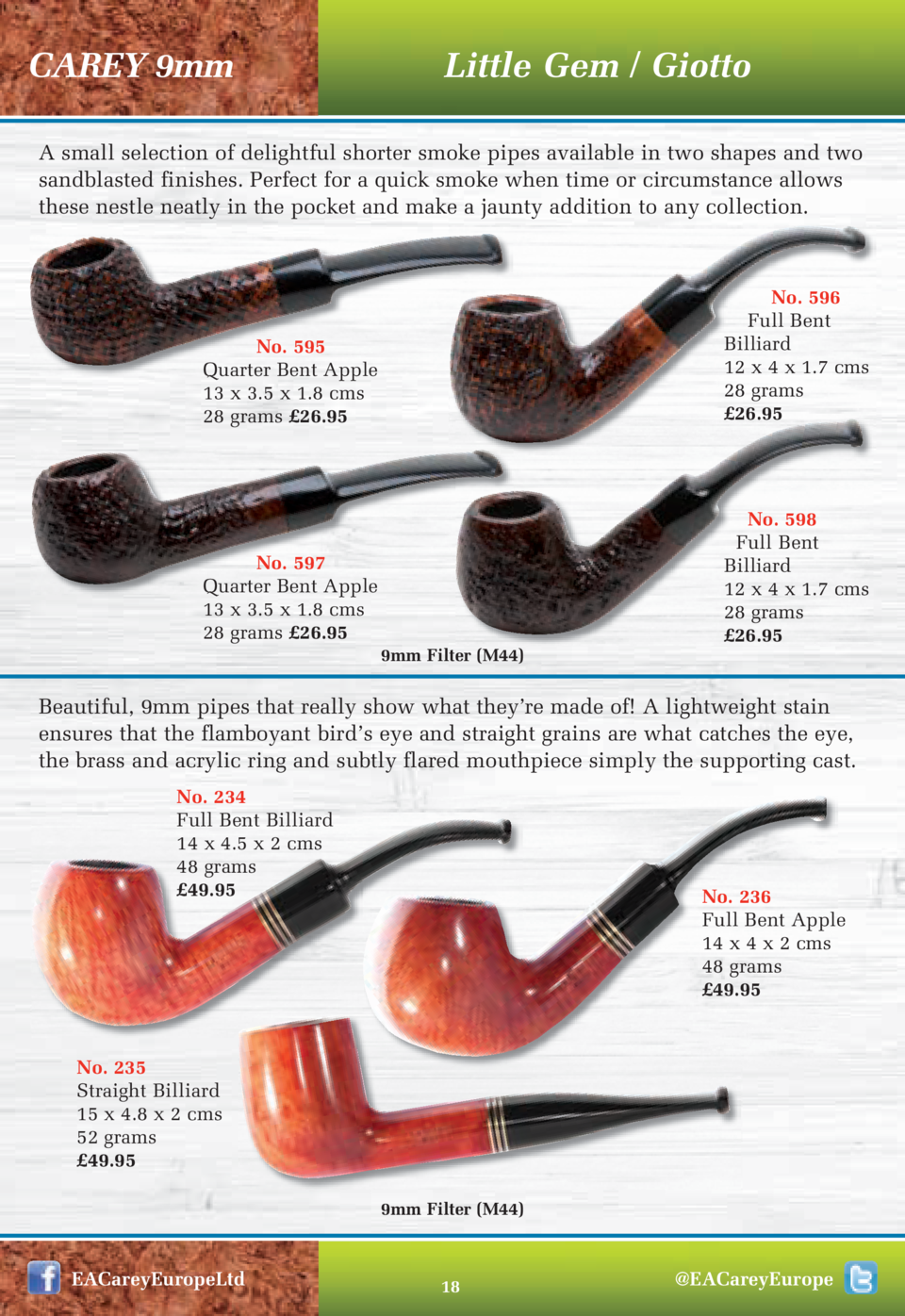 CAREY 9mm  Little Gem   Giotto  A small selection of delightful shorter smoke pipes available in two shapes and two sandbl...