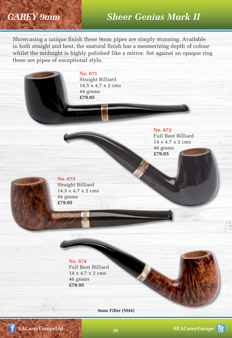 CAREY 9mm  Sheer Genius Mark II  Showcasing a unique finish these 9mm pipes are simply stunning. Available in both straigh...