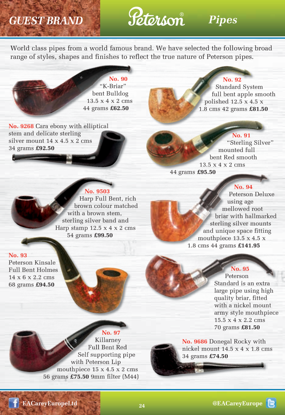 GUEST BRAND  Pipes  World class pipes from a world famous brand. We have selected the following broad range of styles,...
