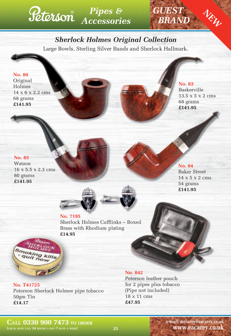 GUEST BRAND  EW  Pipes   Accessories  N      Sherlock Holmes Original Collection Large Bowls, Sterling Silver Bands and Sh...