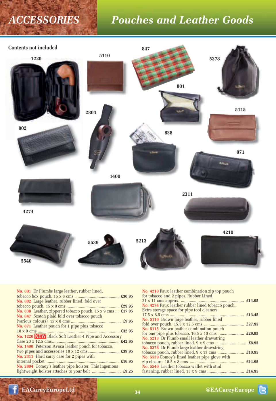 Pouches and Leather Goods  ACCESSORIES Contents not included  847 5110  1220  5378  801  5115  2804 802  838 871  1400 231...