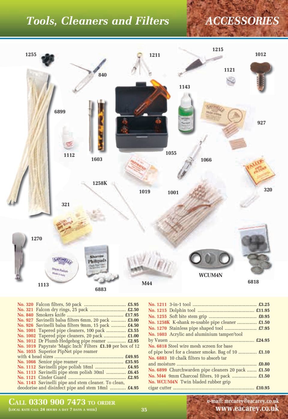 Tools, Cleaners and Filters 1255  ACCESSORIES 1215  1211  1012 1121  840 1143  6899 927  1112  1055  1603  1066  1258K 101...