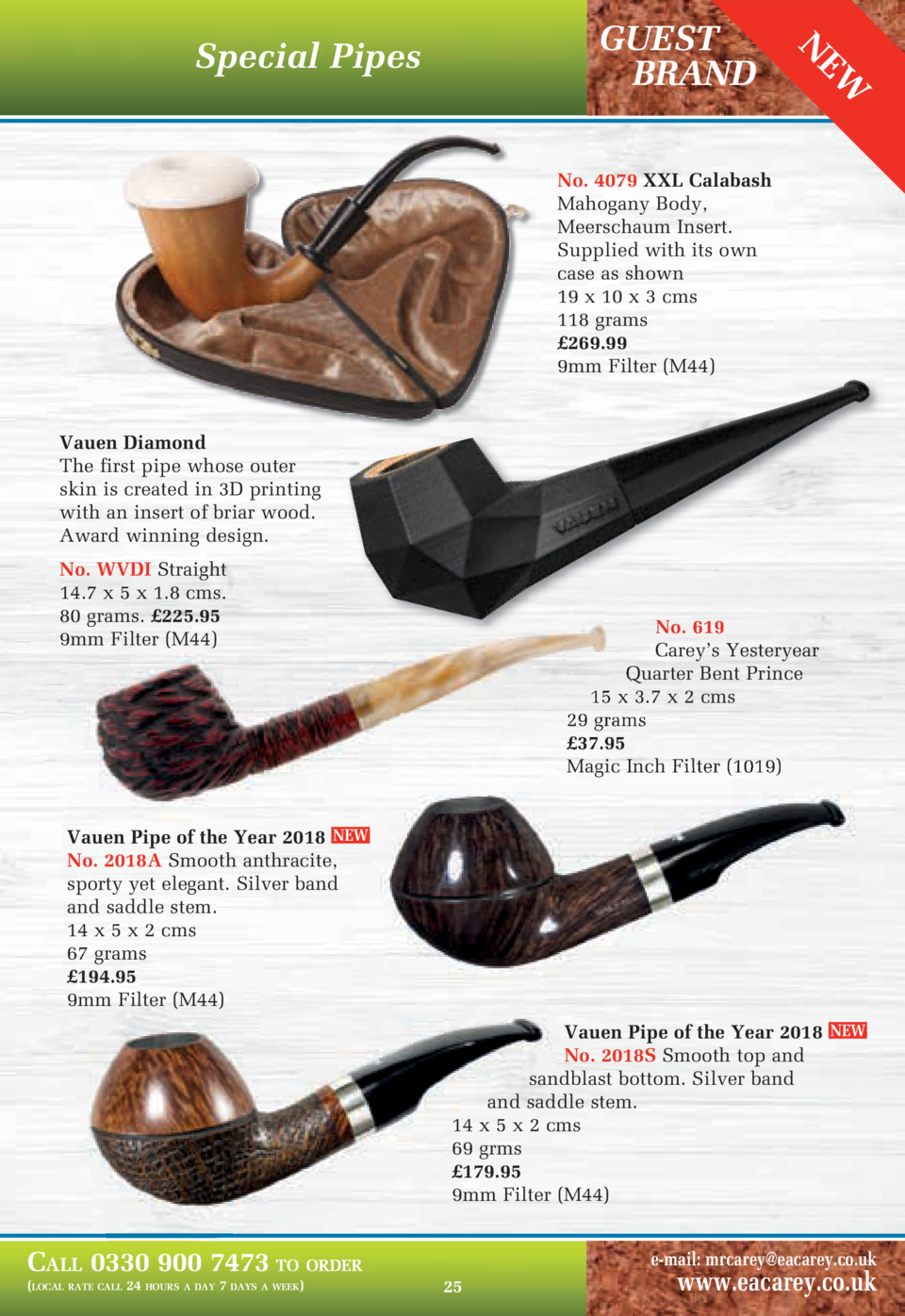 EW  N  GUEST BRAND  Special Pipes  No. 4079 XXL Calabash Mahogany Body, Meerschaum Insert. Supplied with its own case as s...