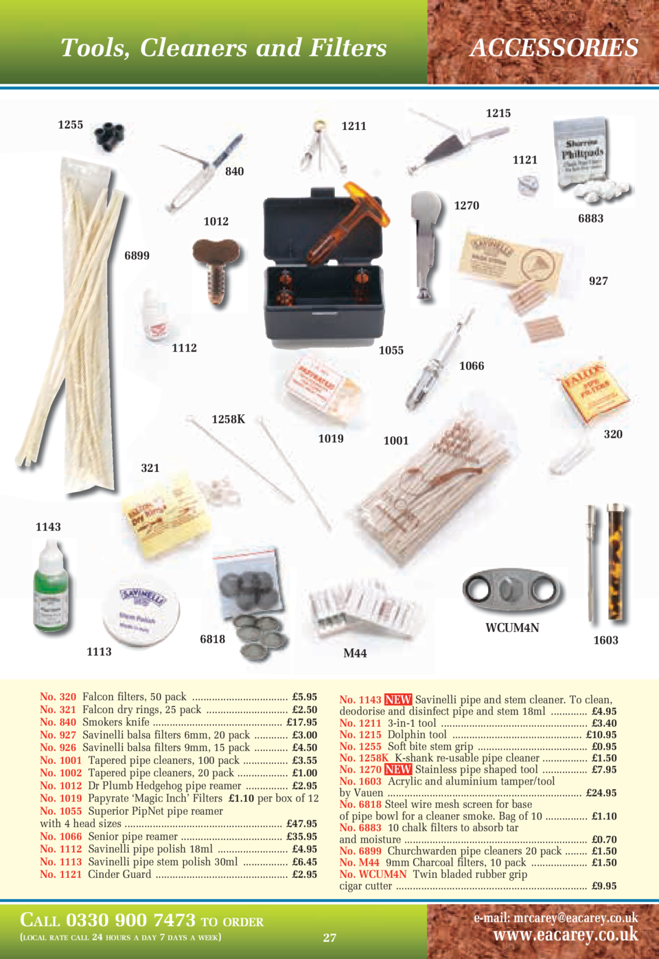 Tools, Cleaners and Filters 1255  ACCESSORIES 1215  1211  1121  840 1270  6883  1012 6899  927  1112  1055 1066  1258K 101...