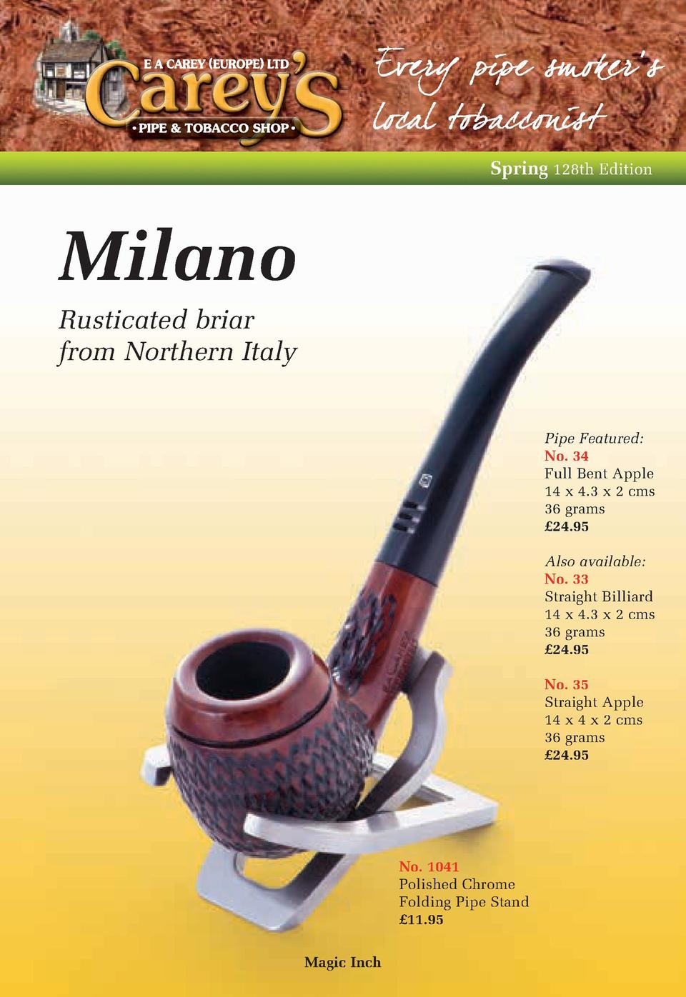 Spring 128th Edition  Milano Rusticated briar from Northern Italy Pipe Featured  No. 34 Full Bent Apple 14 x 4.3 x 2 cms 3...