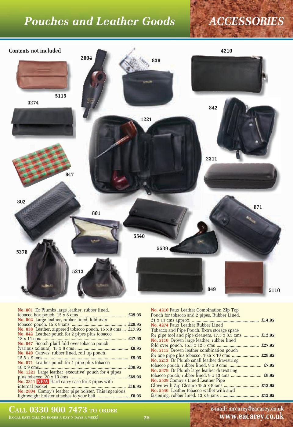 Pouches and Leather Goods  ACCESSORIES  Contents not included  4210 2804  4274  838  5115 842 1221  2311 847  802  871  80...