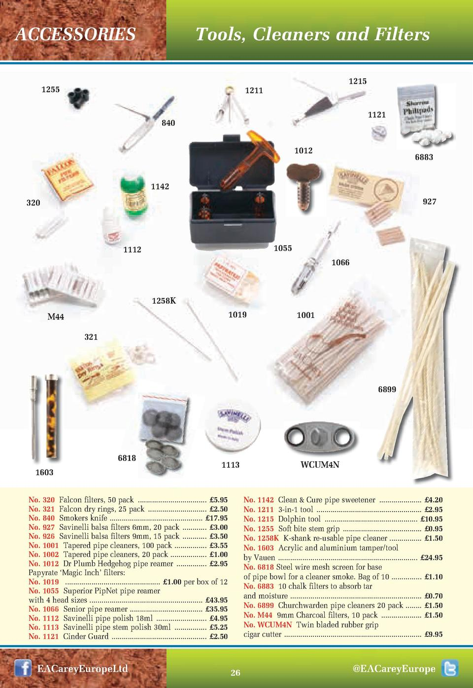 ACCESSORIES  Tools, Cleaners and Filters  1255  1215  1211  1121  840 1012  6883  1142 927  320  1055  1112  1066  1258K 1...