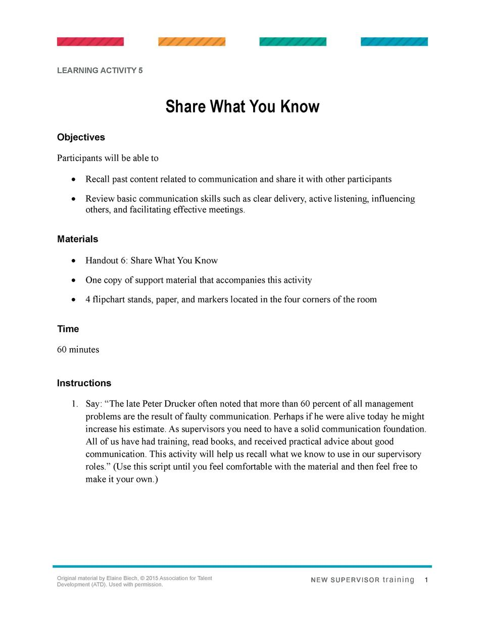 LEARNING ACTIVITY 5  Share What You Know Objectives Participants will be able to      Recall past content related to commu...