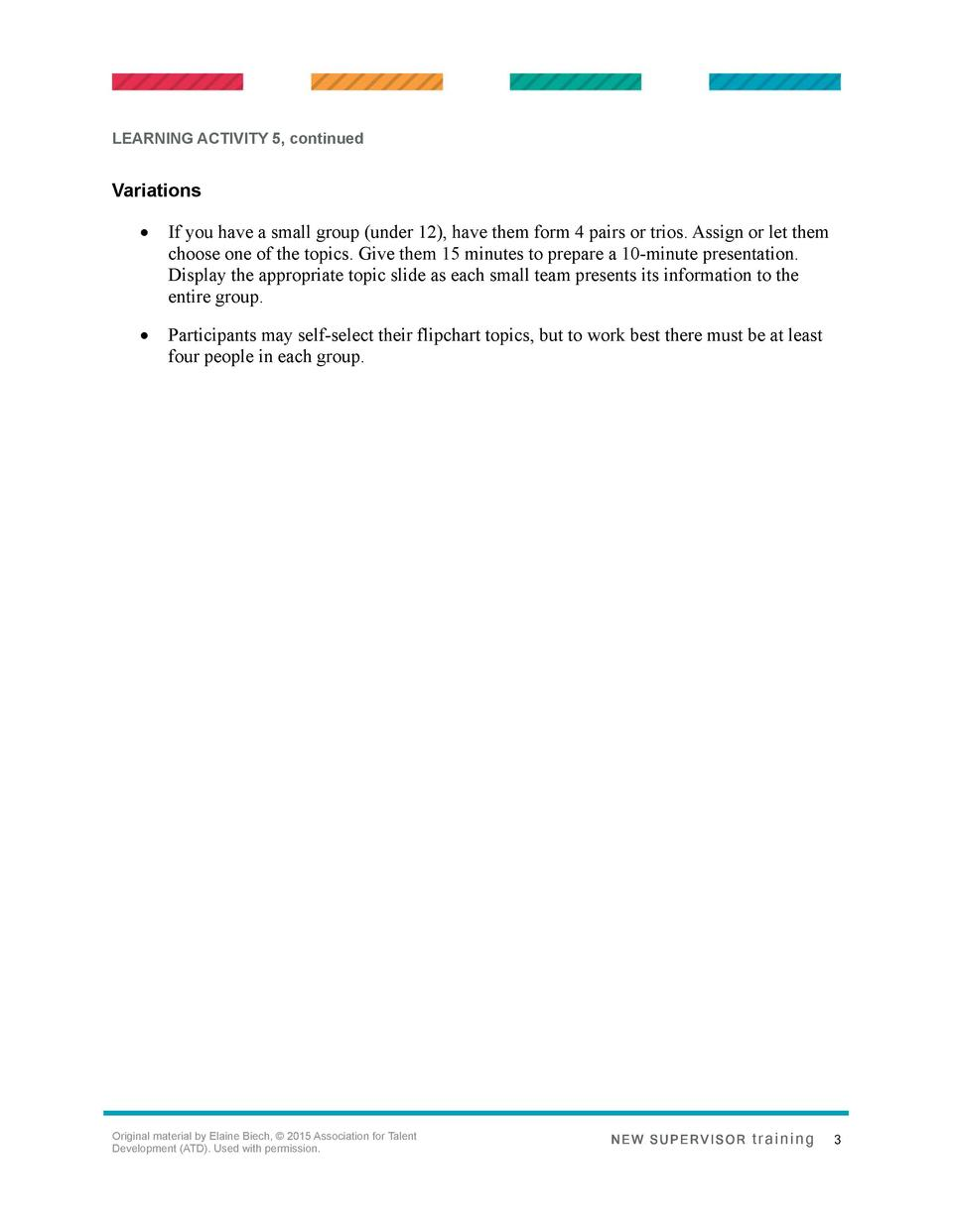 LEARNING ACTIVITY 5, continued  Variations      If you have a small group  under 12 , have them form 4 pairs or trios. Ass...