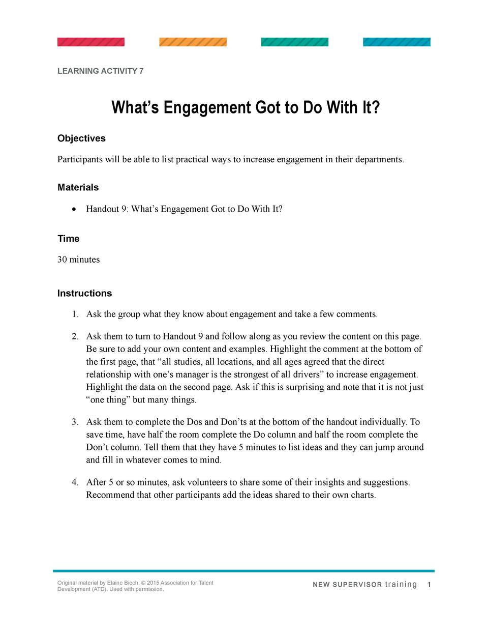 LEARNING ACTIVITY 7  What   s Engagement Got to Do With It  Objectives Participants will be able to list practical ways to...
