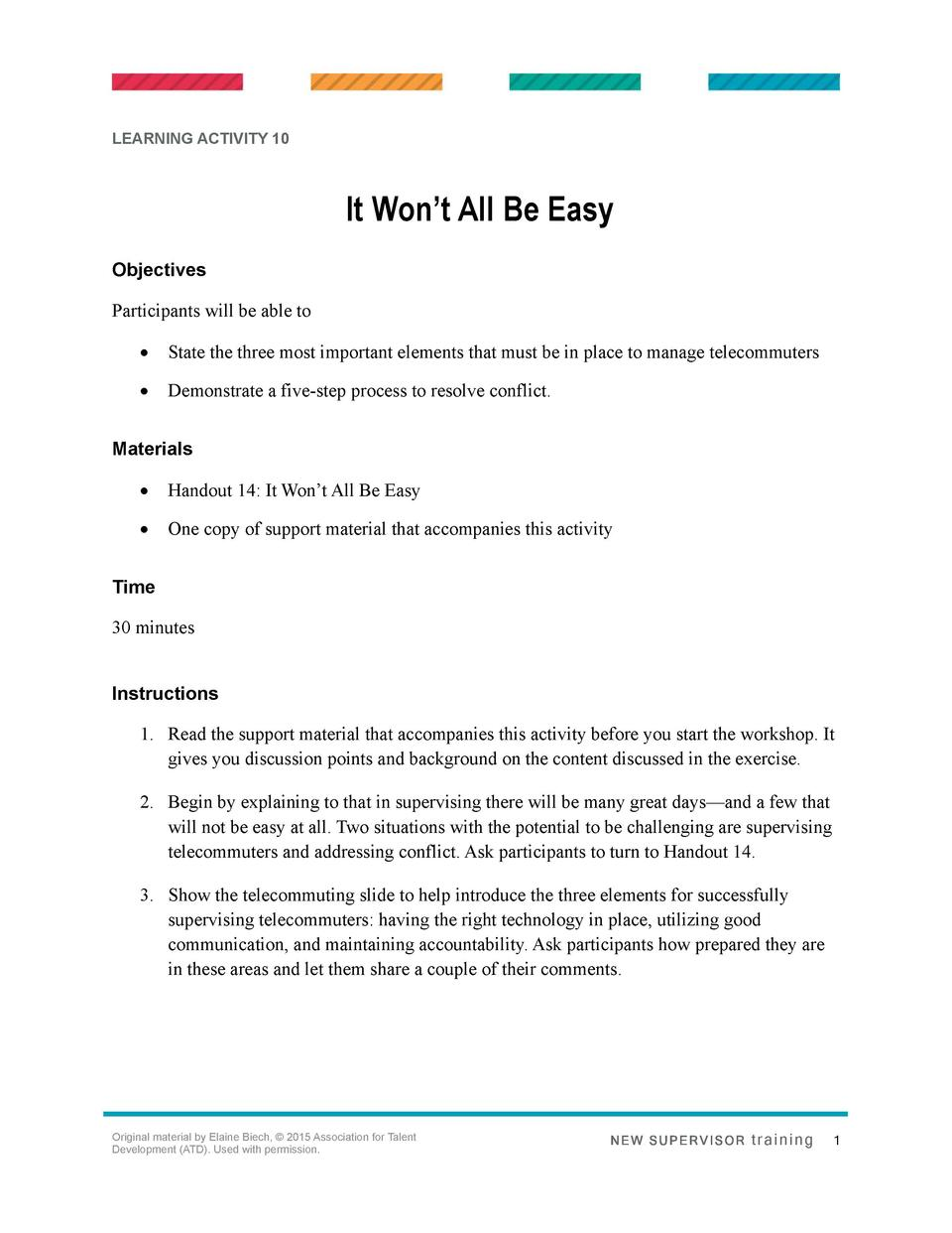 LEARNING ACTIVITY 10  It Won   t All Be Easy Objectives Participants will be able to      State the three most important e...