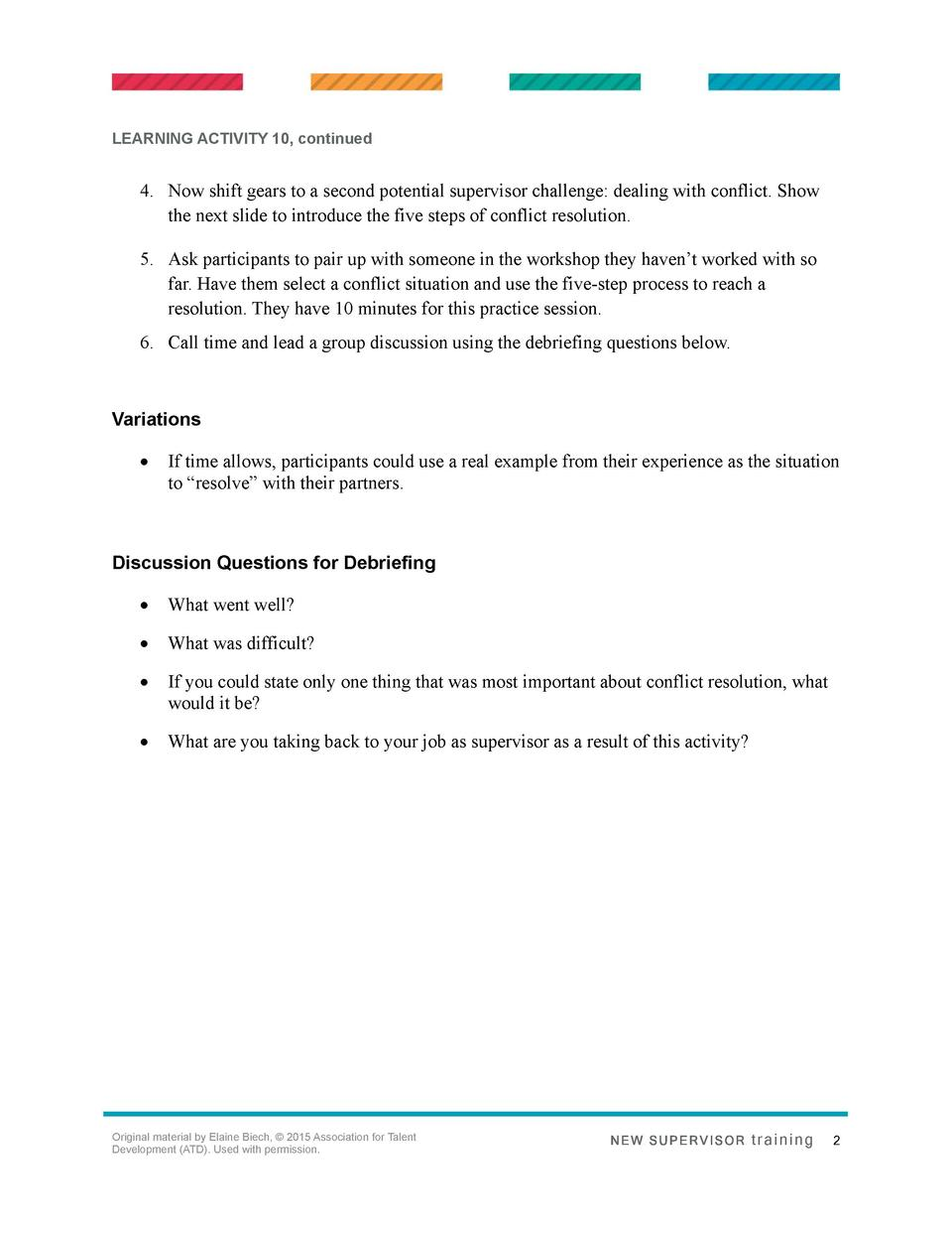 LEARNING ACTIVITY 10, continued  4. Now shift gears to a second potential supervisor challenge  dealing with conflict. Sho...