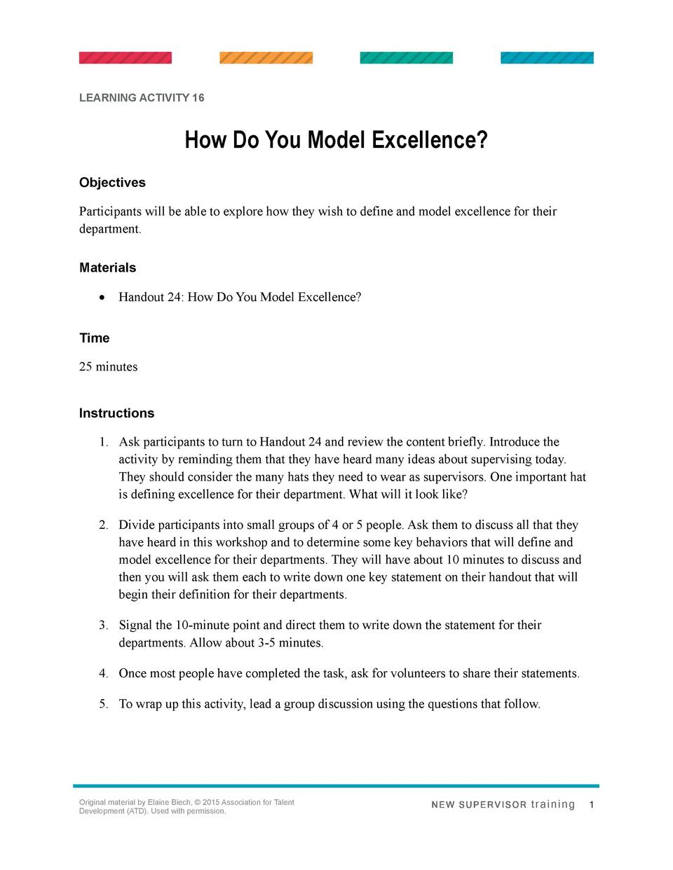 LEARNING ACTIVITY 16  How Do You Model Excellence  Objectives Participants will be able to explore how they wish to define...