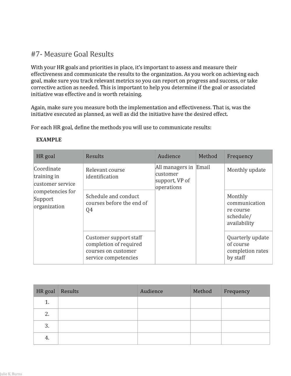 7   Measure Goal Results With your HR goals and priorities in place, it   s important to assess and measure their  effect...