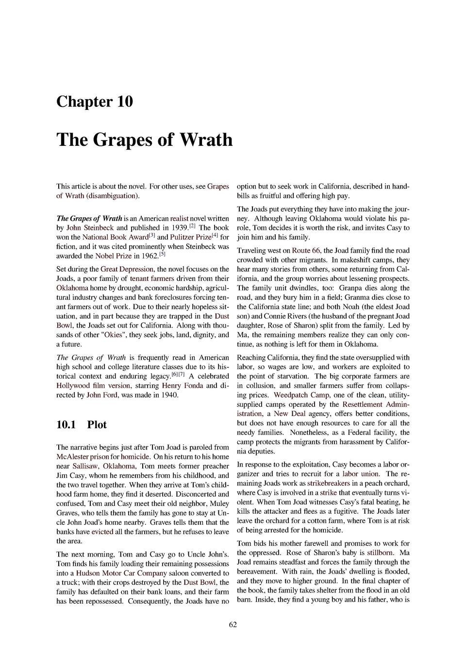 Chapter 10 The Grapes Of Wrath This Article Is About The Novel For Other  Uses