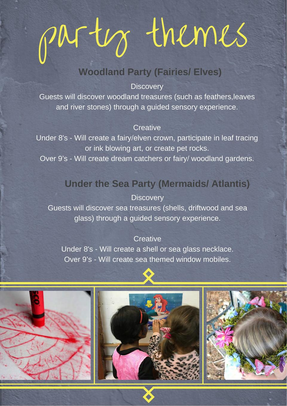 party themes Woodland Party  Fairies  Elves   Discovery Guests will discover woodland treasures  such as feathers,leaves a...