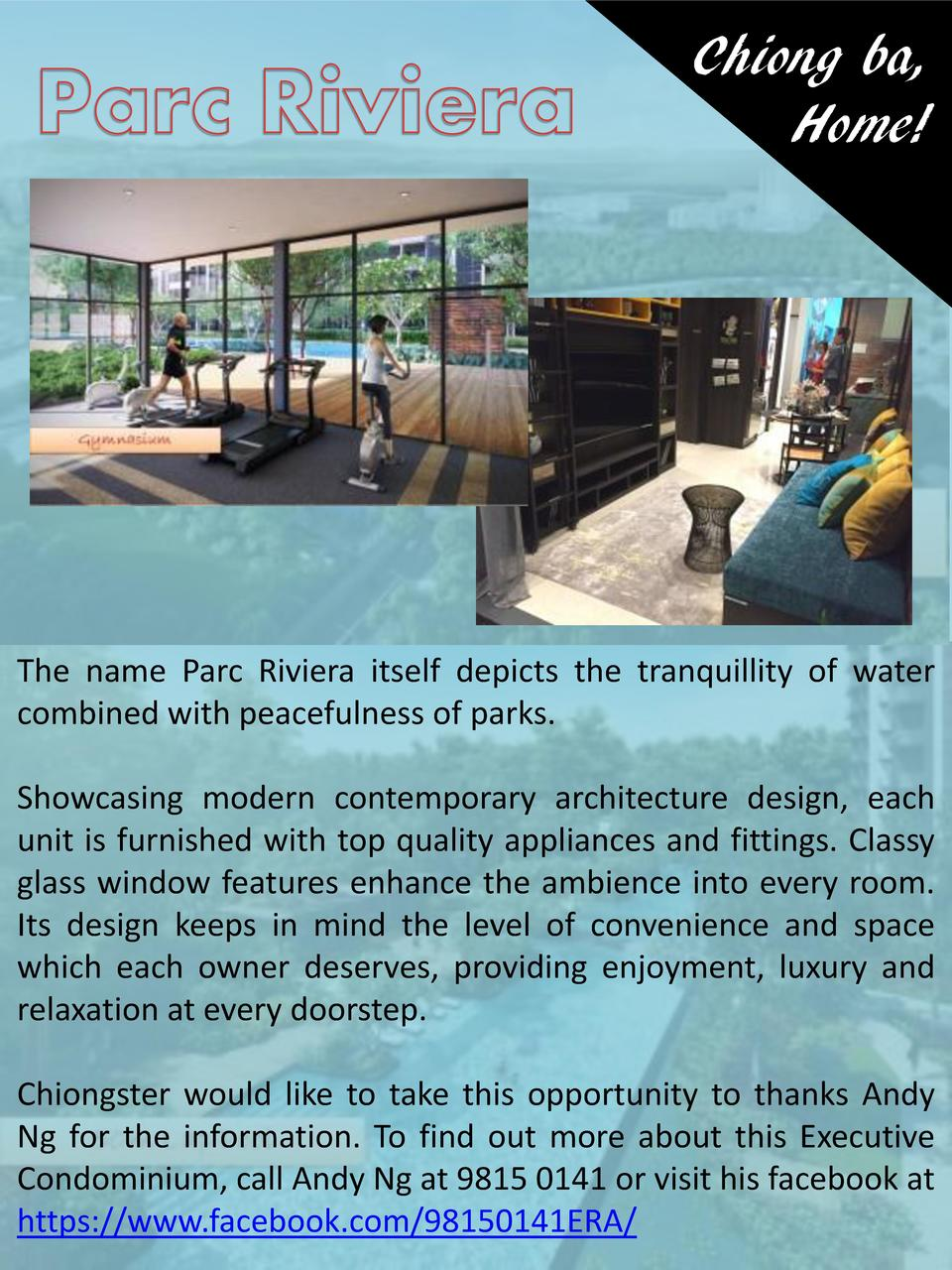 Chiong ba, Home   The name Parc Riviera itself depicts the tranquillity of water combined with peacefulness of parks. Show...