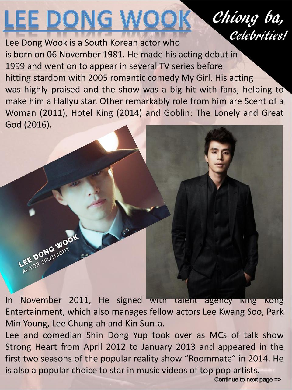 Chiong ba, Celebrities   Lee Dong Wook is a South Korean actor who is born on 06 November 1981. He made his acting debut i...