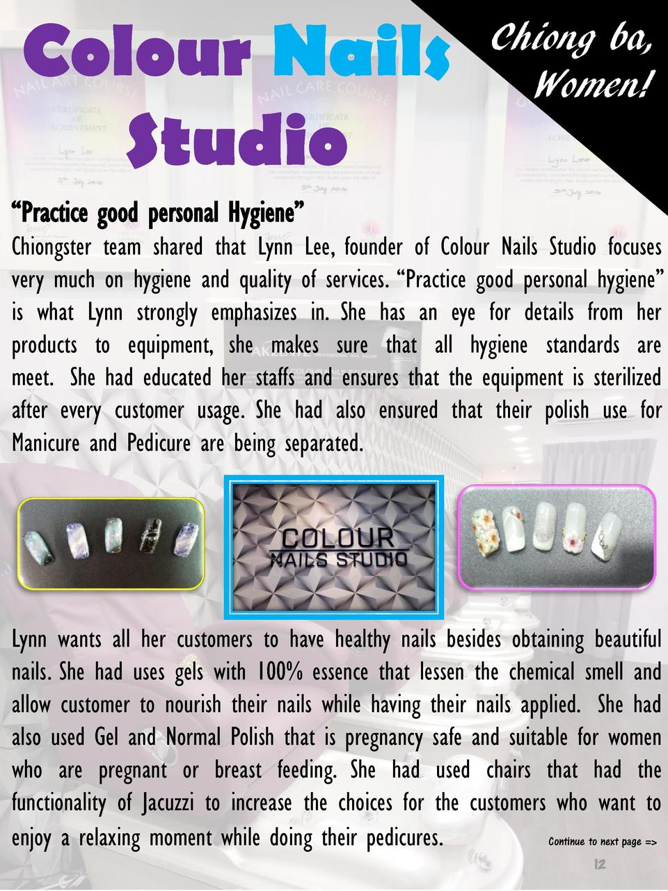 Colour Nails Studio  Chiong ba, Women      Practice good personal Hygiene    Chiongster team shared that Lynn Lee, founder...