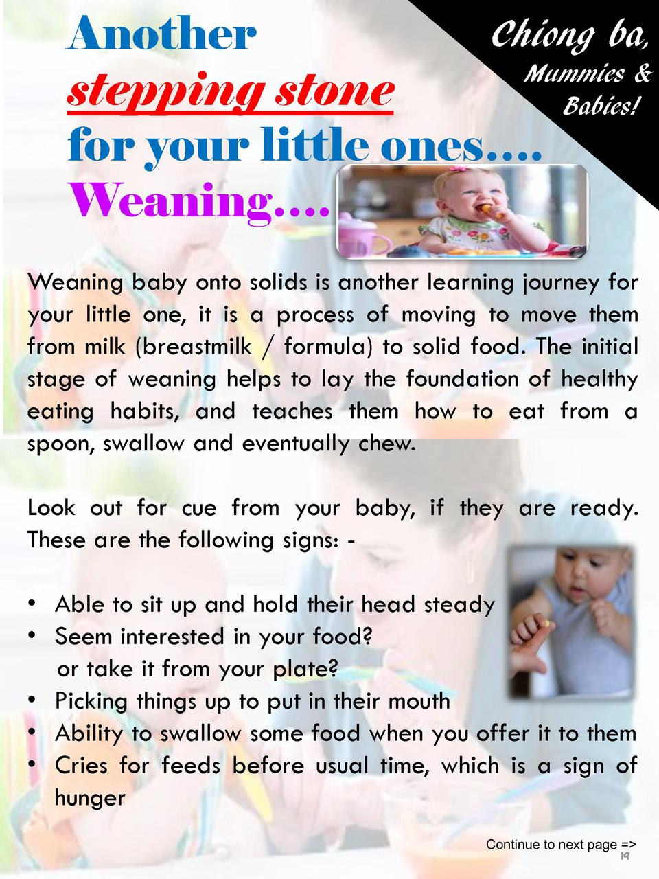 Chiong ba, Another Mummies   stepping stone Babies  for your little ones   . Weaning   . Weaning baby onto solids is anoth...
