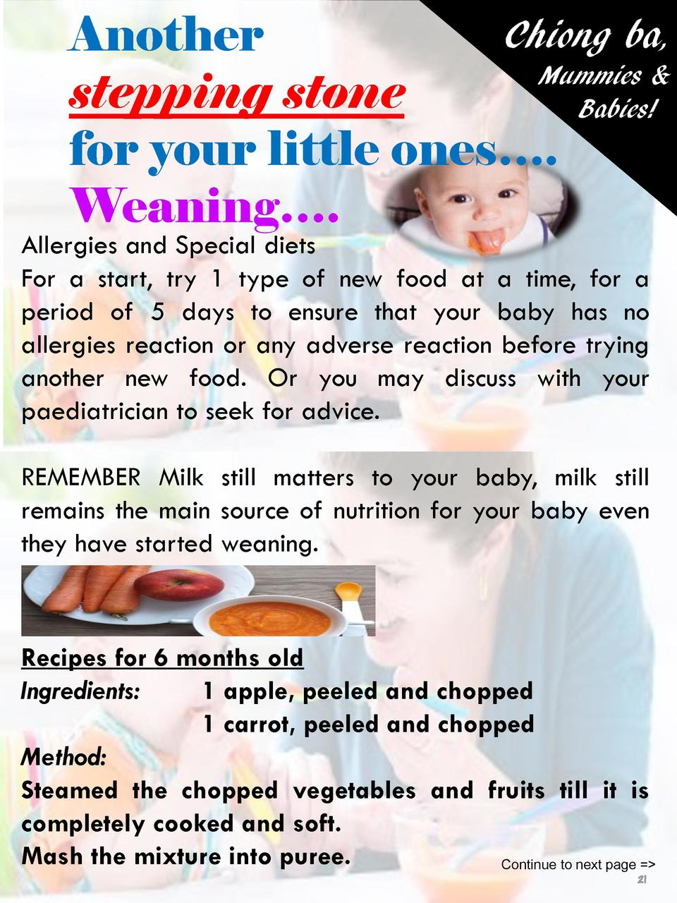 Chiong ba, Another Mummies   stepping stone Babies  for your little ones   . Weaning   .  Allergies and Special diets For ...