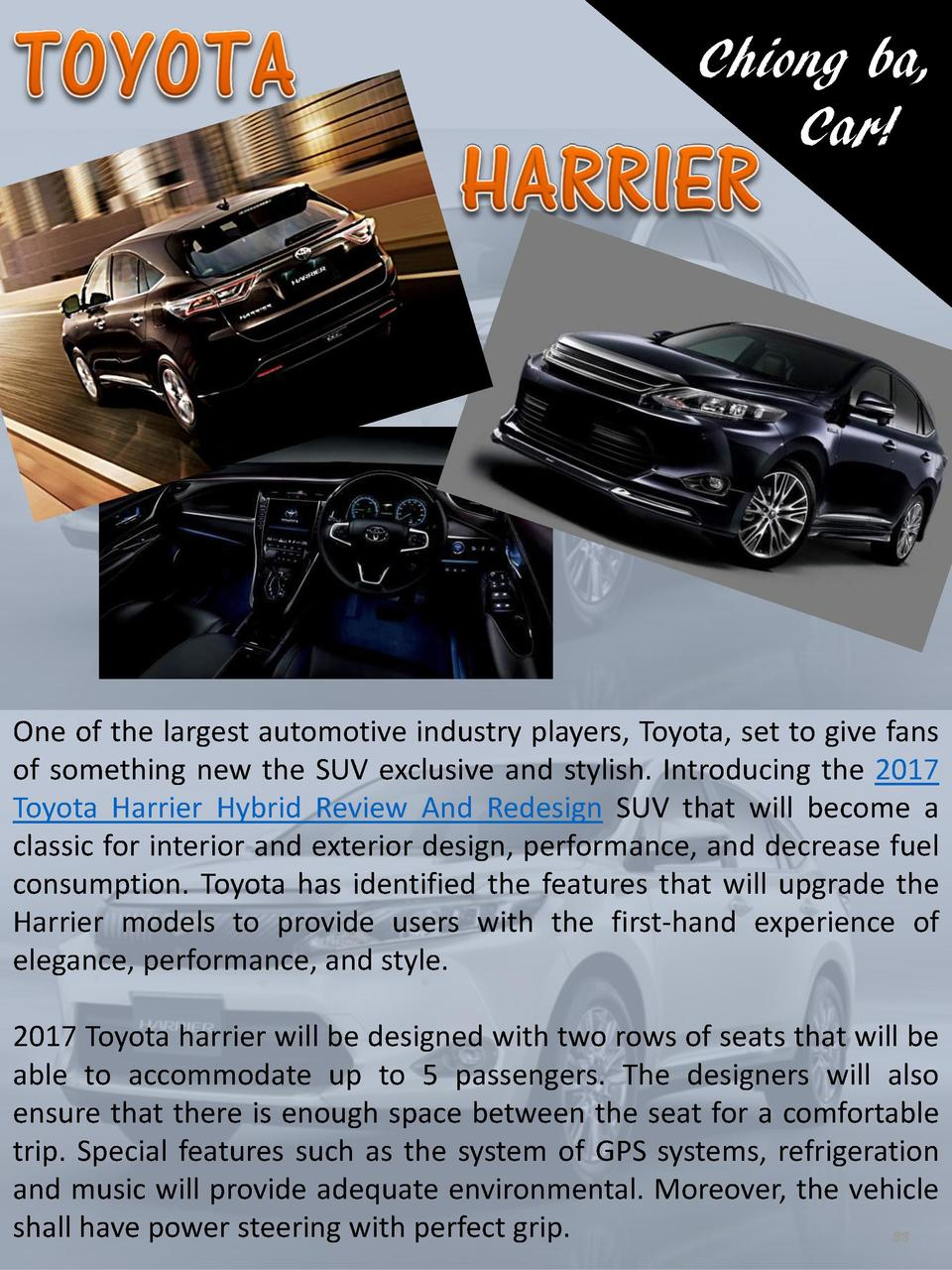 Chiong ba, Car   One of the largest automotive industry players, Toyota, set to give fans of something new the SUV exclusi...