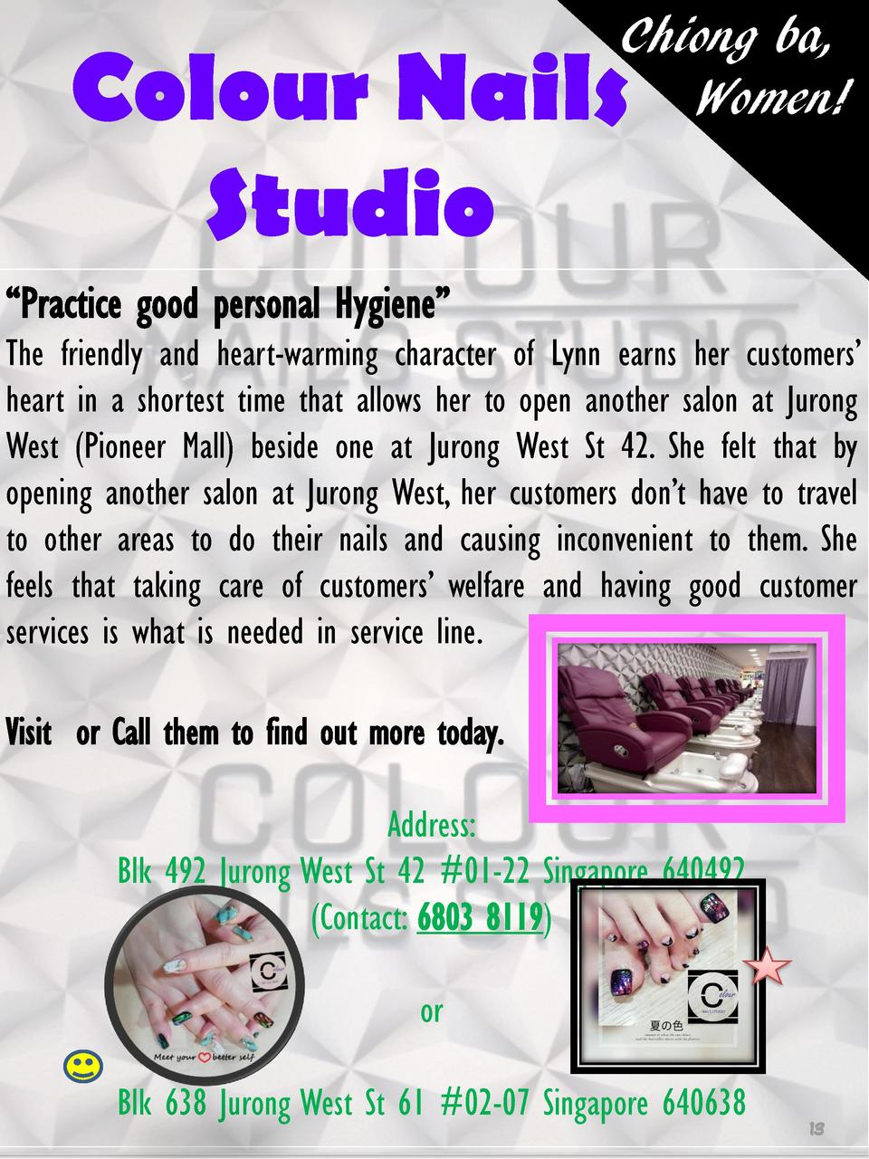 Chiong ba, Women   Colour Nails Studio    Practice good personal Hygiene     The friendly and heart-warming character of L...