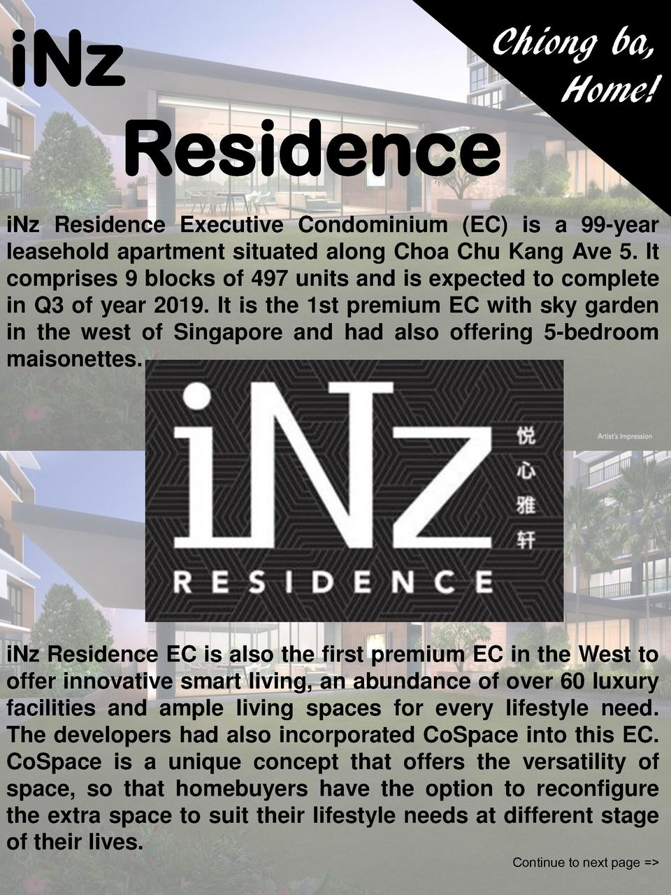 iNz Residence  Chiong ba, Home   iNz Residence Executive Condominium  EC  is a 99-year leasehold apartment situated along ...