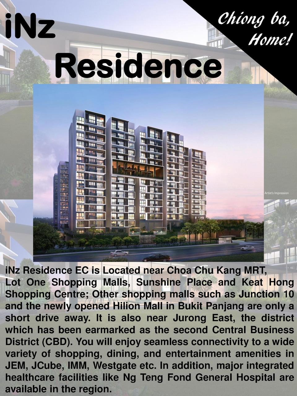 iNz Residence  Chiong ba, Home   iNz Residence EC is Located near Choa Chu Kang MRT, Lot One Shopping Malls, Sunshine Plac...