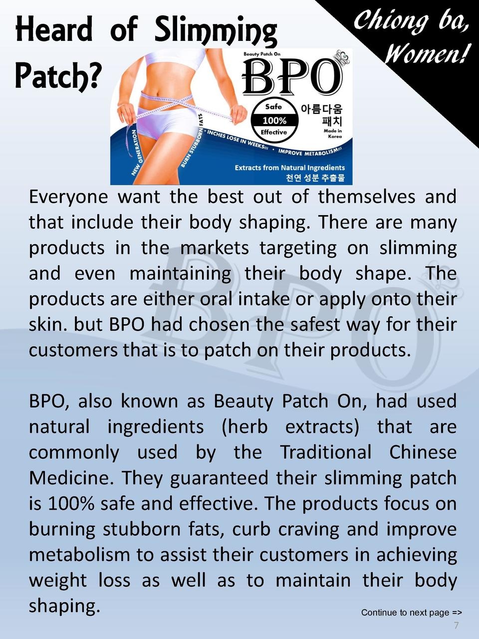 Heard of Slimming Patch   Chiong ba, Women   Everyone want the best out of themselves and that include their body shaping....