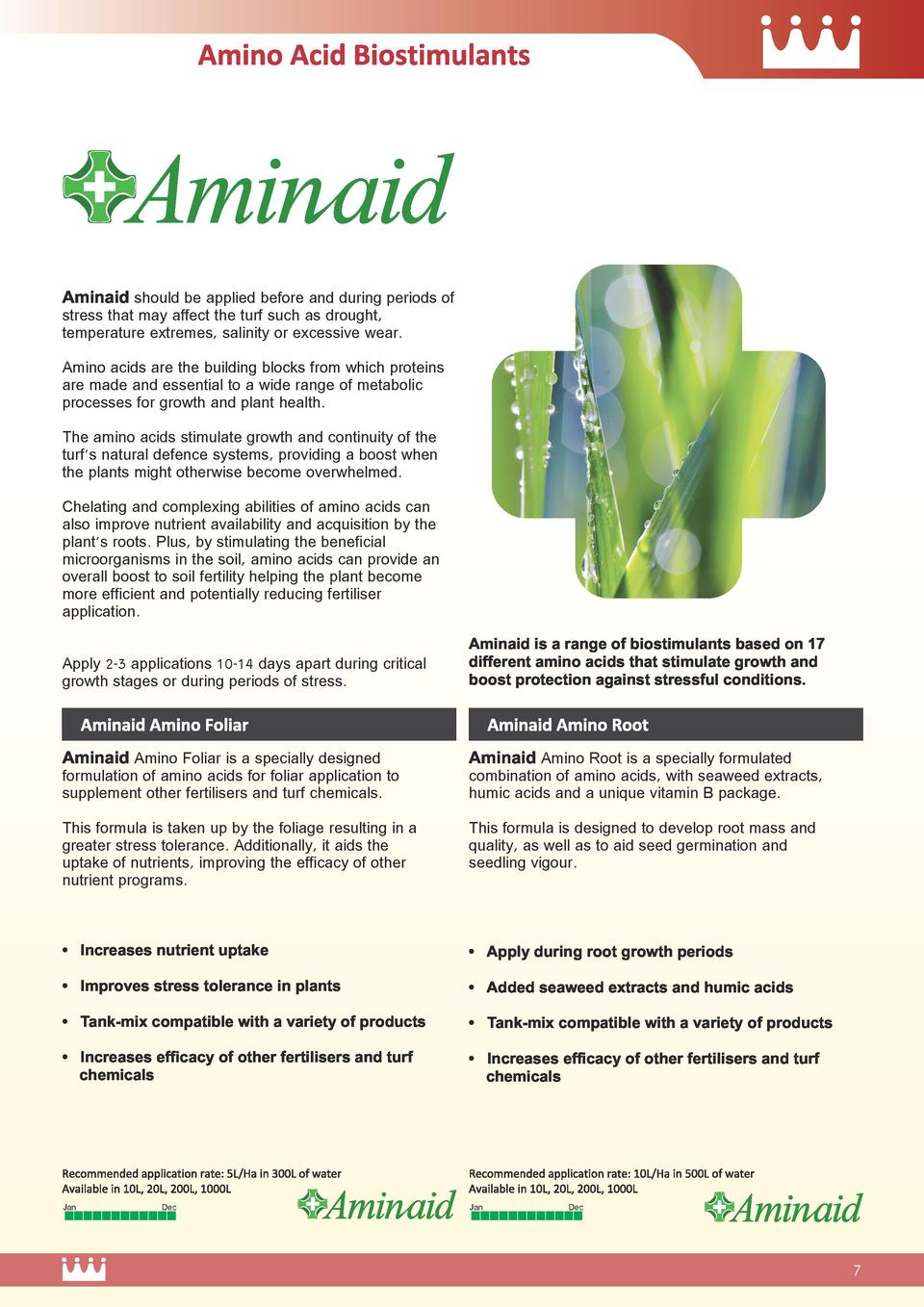 Aminaid should be applied before and during periods of stress that may affect the turf such as drought, temperature extrem...
