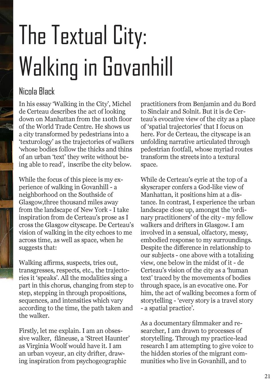 The Textual City  Walking in Govanhill Nicola Black In his essay    Walking in the City   , Michel de Certeau describes th...