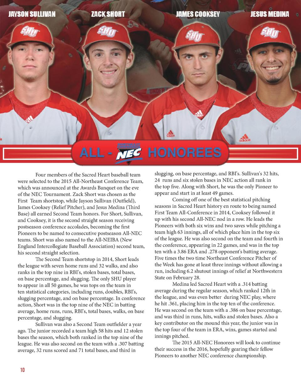 Four members of the Sacred Heart baseball team were selected to the 2015 All-Northeast Conference Team, which was announ...