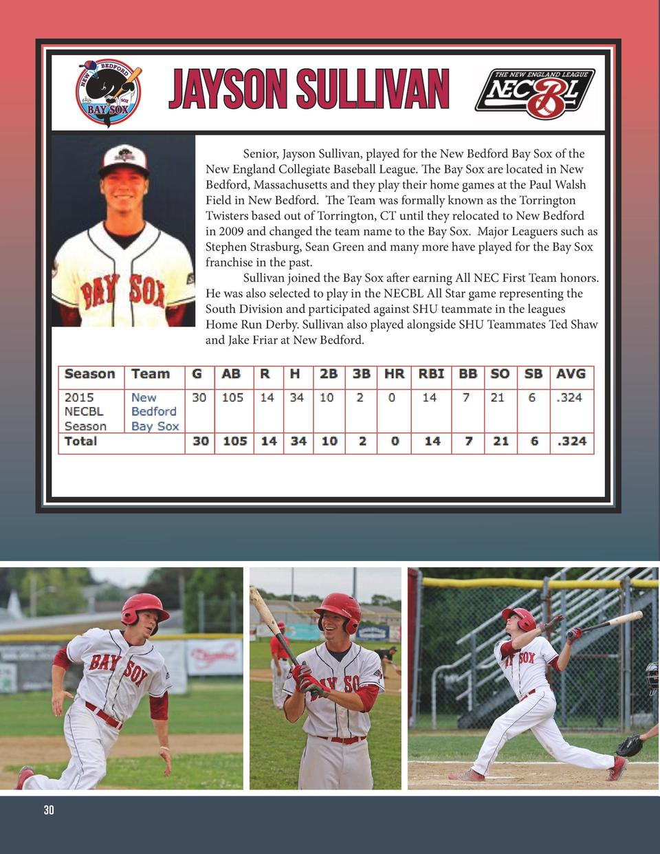 Jayson Sullivan   Senior, Jayson Sullivan, played for the New Bedford Bay Sox of the New England Collegiate Baseball Leagu...
